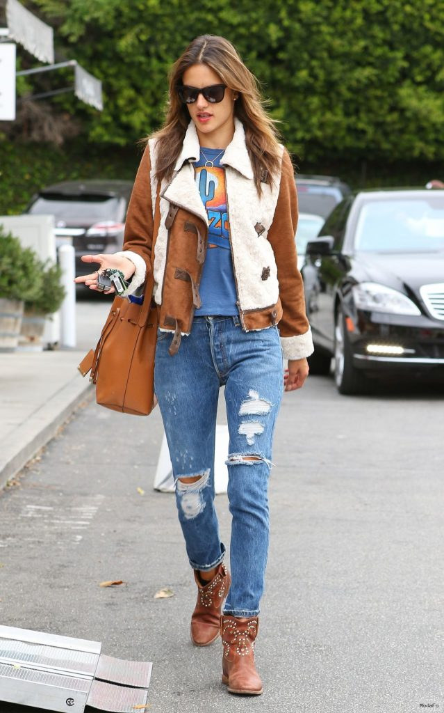 Alessandra Ambrosio in Ripped Jeans – Out in Brentwood, January 2015