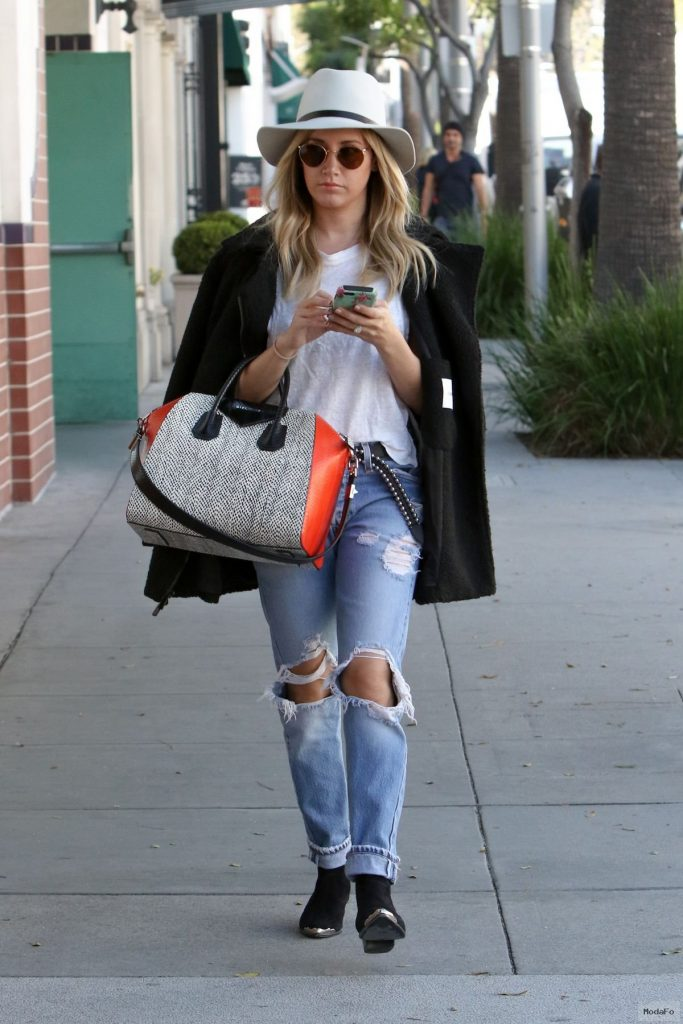 Ashley Tisdale wore ripped jeans out in Beverly Hills