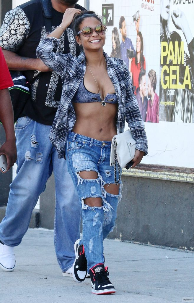 Christina Milian in Ripped Jeans – Out in Los Angeles, March 2015