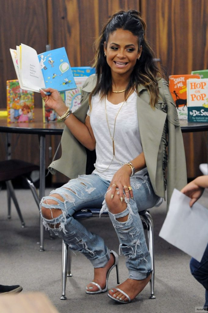 Christina Milian in Ripped Jeans – 'Read Across America' Program in LA