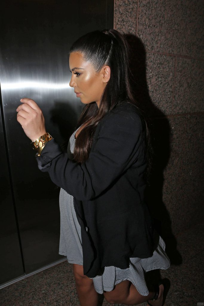 Glowing Kim Kardashian Dons Striped Maternity Dress and Flat …
