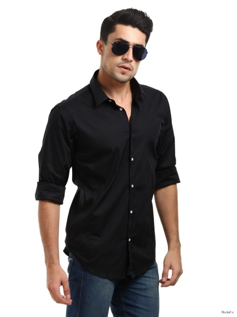 Black Shirt For Men With Design Canemh