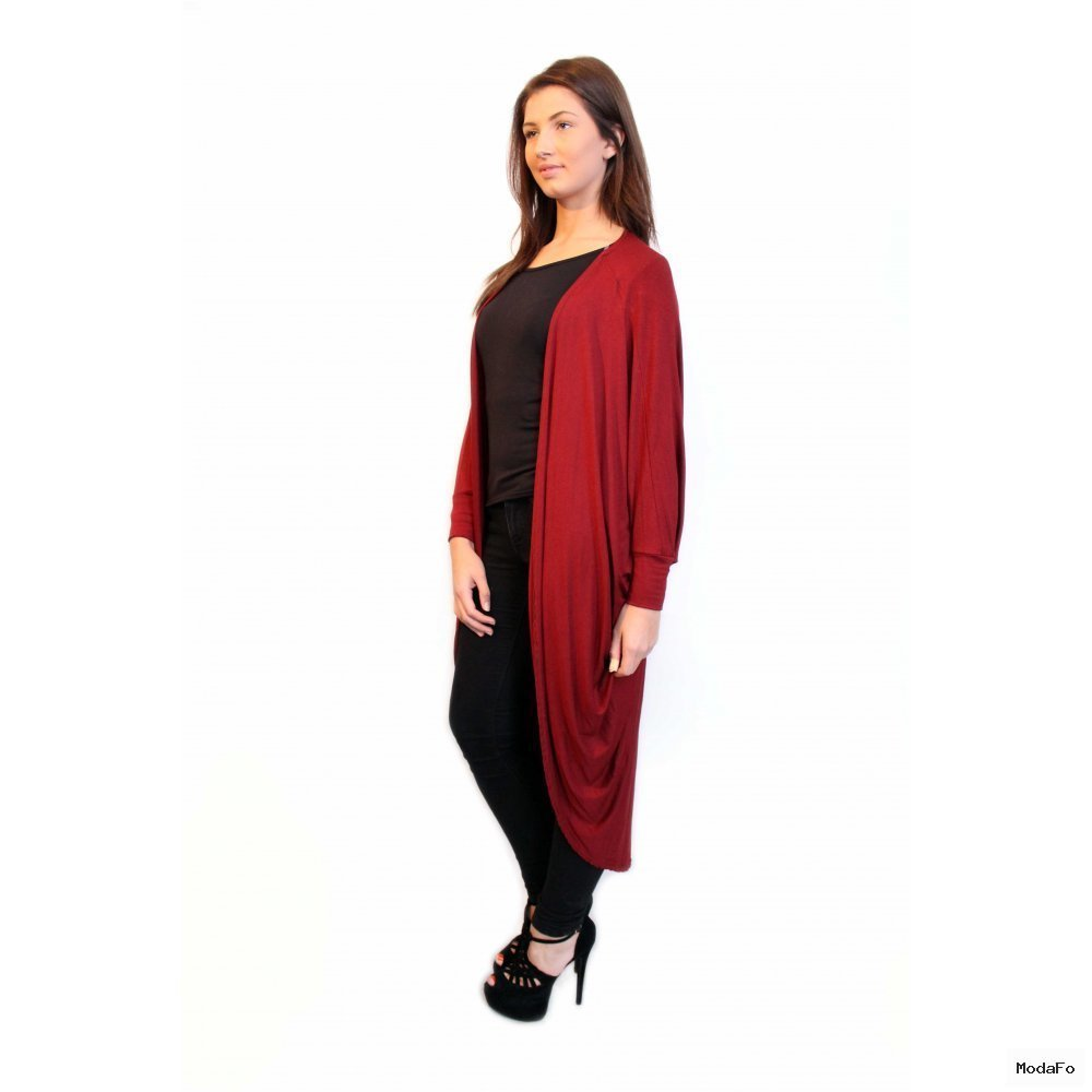Emmie Long Length Burgandy Draped Jersey Cardigan From Parisia
