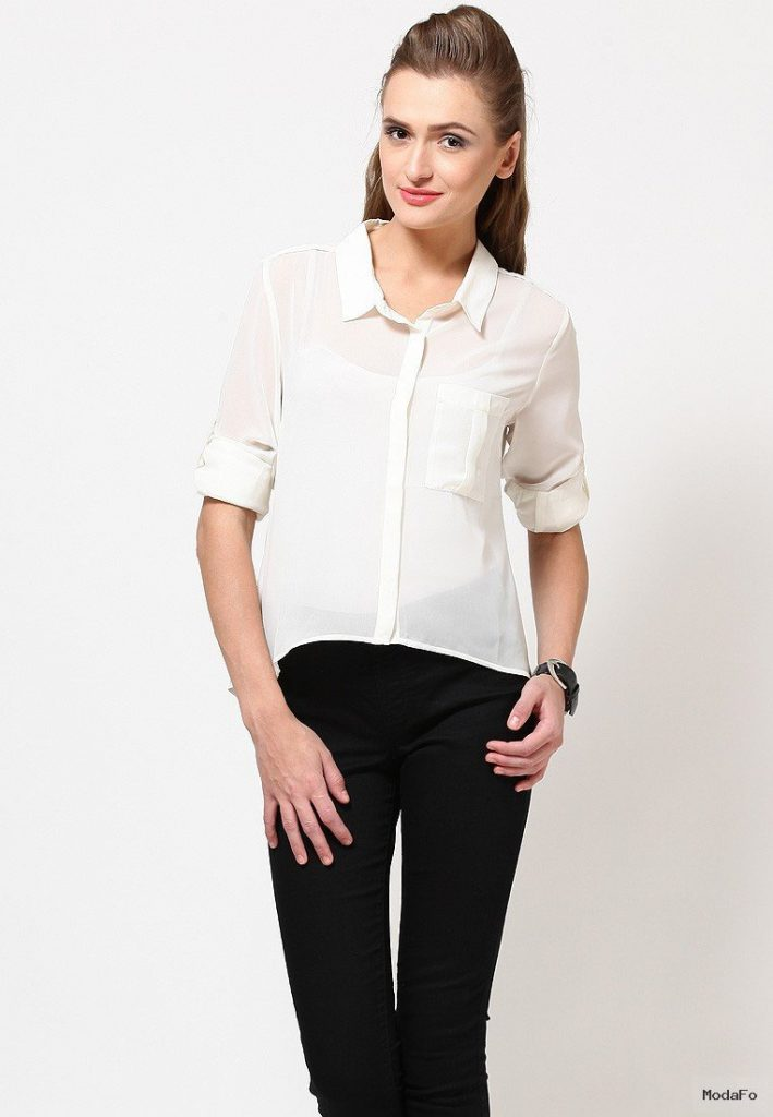 Freecultr Roll-Up Sleeve Casual Off White Shirt – Buy Freecultr …