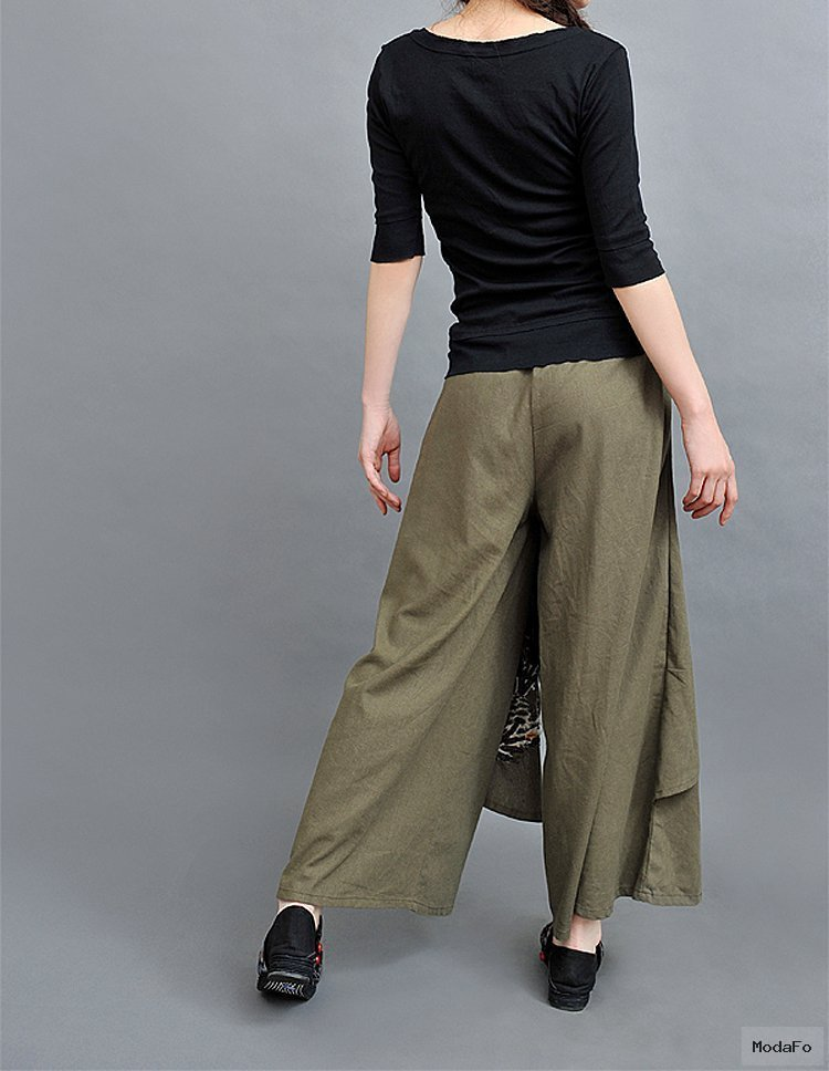 Casual women wide leg pants maxi skirts 2015 embroidery pant skirt …