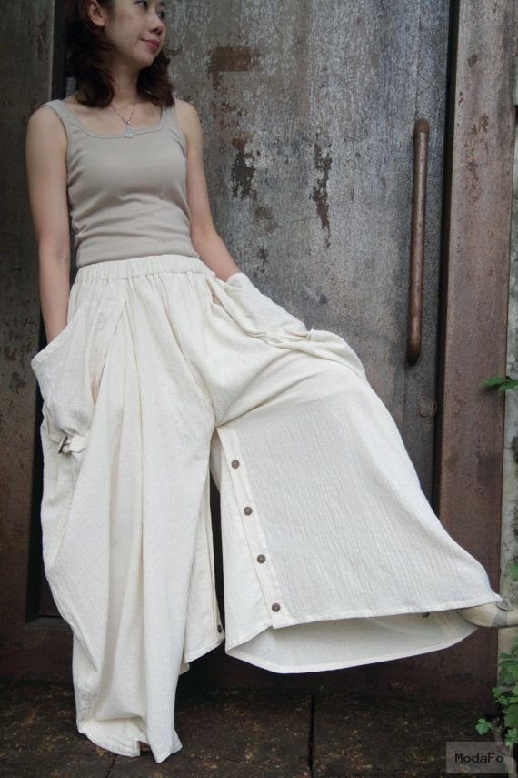 Creamy soft cotton long skirt with unique pattern design …