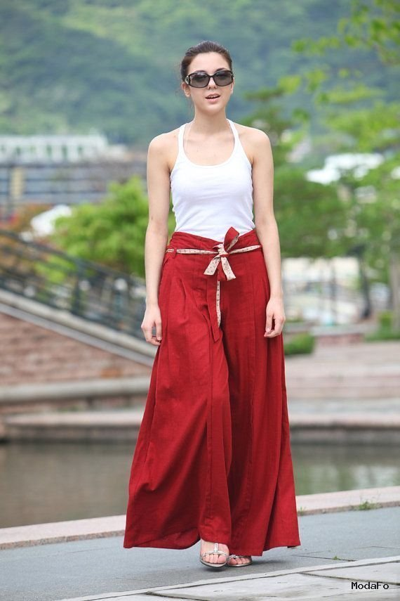 Wide Leg Long Skirt Pants in Red – NC043
