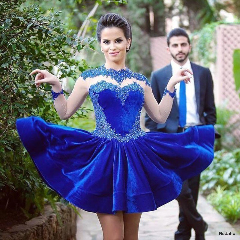 Aliexpress.com : Buy Saudi Arabic Royal Blue Velvet Short Prom …