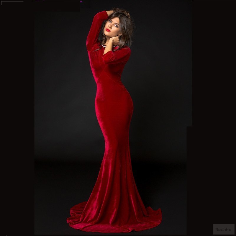 Popular Long Red Velvet Dress-Buy Cheap Long Red Velvet Dress lots …
