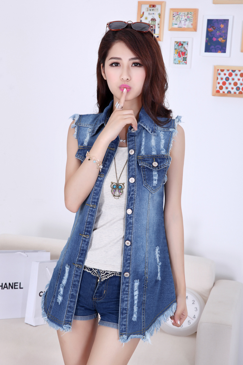 2016 Kot Ceket Modelleri ve Kombinleri Sleeveless-Denim-Jacket-Women-Models