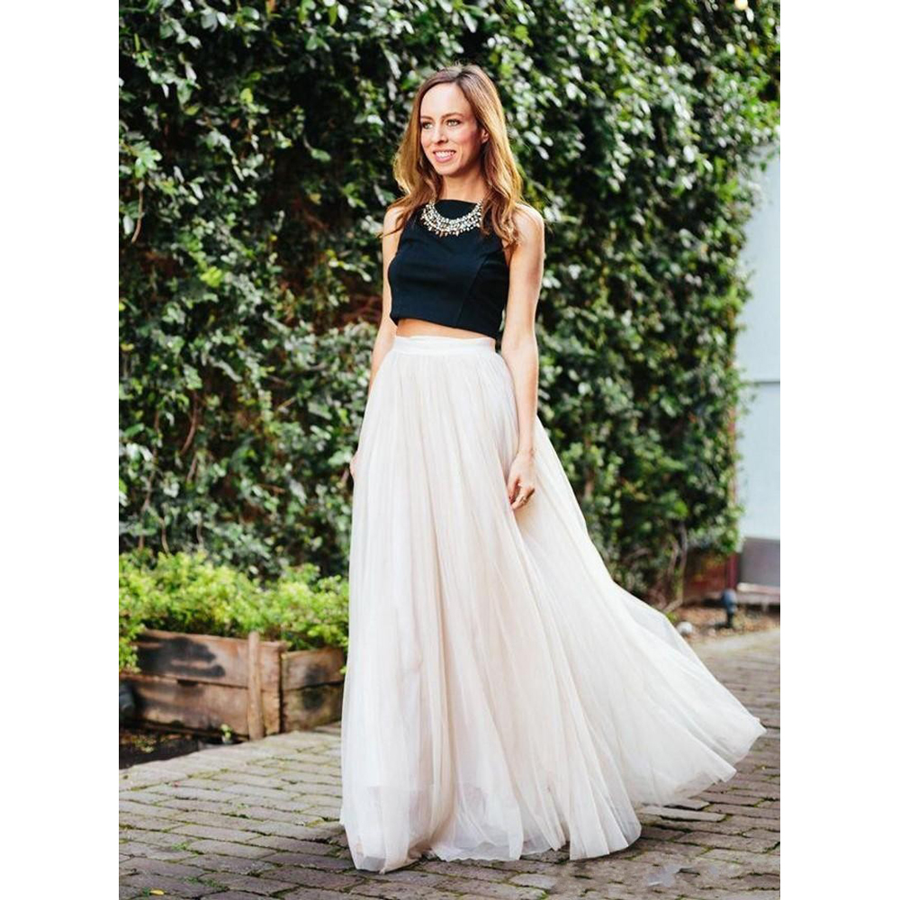 Yüksek Bel Etek modelleri - 2016-New-Arrival-Cheap-Long-Skirts-Lovely-High-Waist-A-line-Floor-Length-Pleated-Skirts-Chiffon