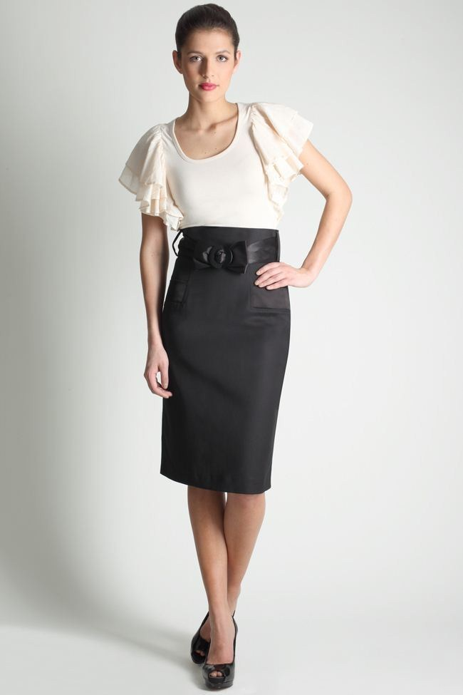Yüksek Bel Etek modelleri - High-Waisted-Bow-Belt-Pencil-Skirt-Black