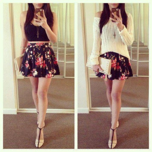 Yüksek Bel Etek modelleri - cute-summer-high+waisted-sweater-rose-floral+skirts-black+crop-pink-cute+dress-pretty-hkfh-shoes-strappy+sandals