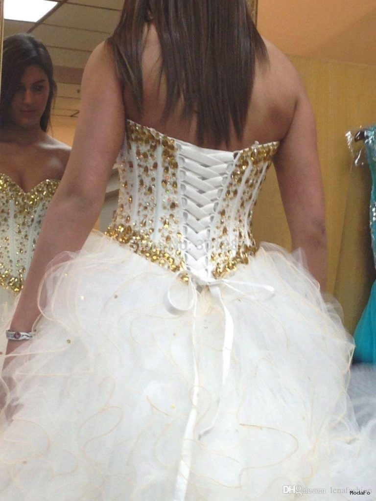 Long Puffy Quinceanera Dresses 2016 White And Gold Sweetheart Ball …
