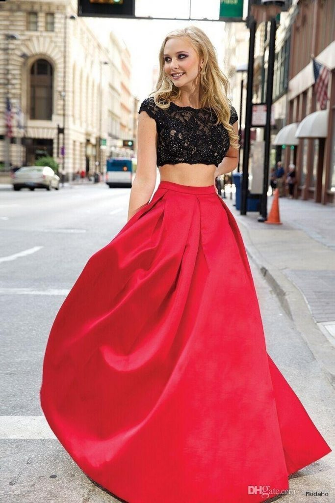 Cheap Long Prom Dresses 2016 Two Pieces Prom Dresses Sheer Lace …