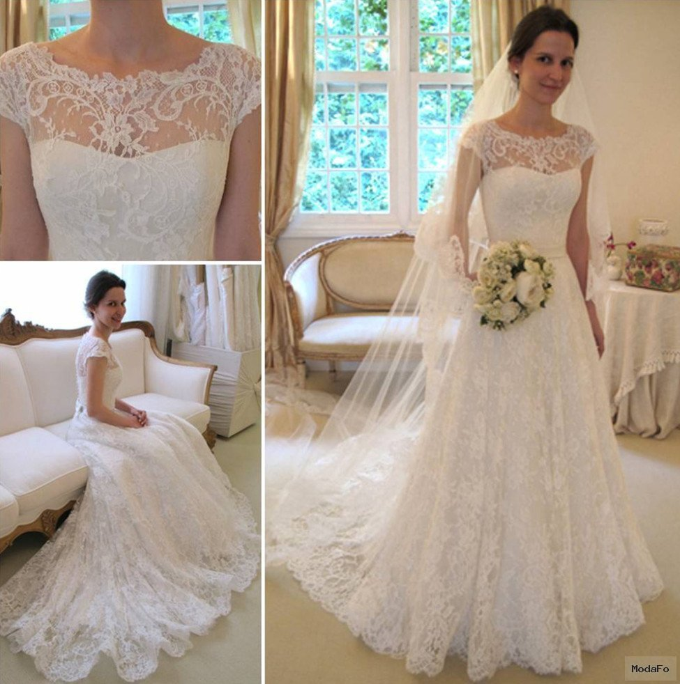 New Arrival Lace A-line Princess Wedding Dresses 2016 with Cap …