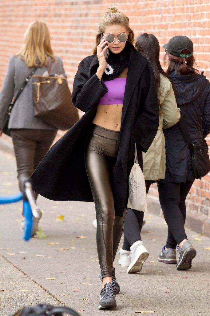 Gigi Hadid in Tights – Out in New York City, November 2015