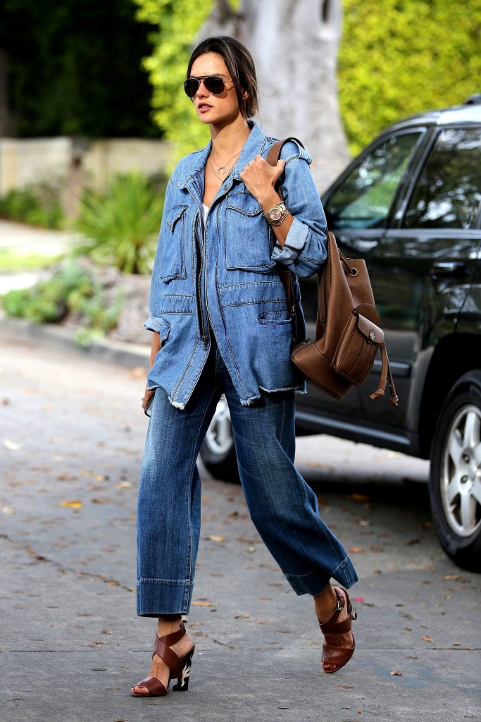 Alessandra Ambrosio in Denim-on-Denim Dressing – Vogue