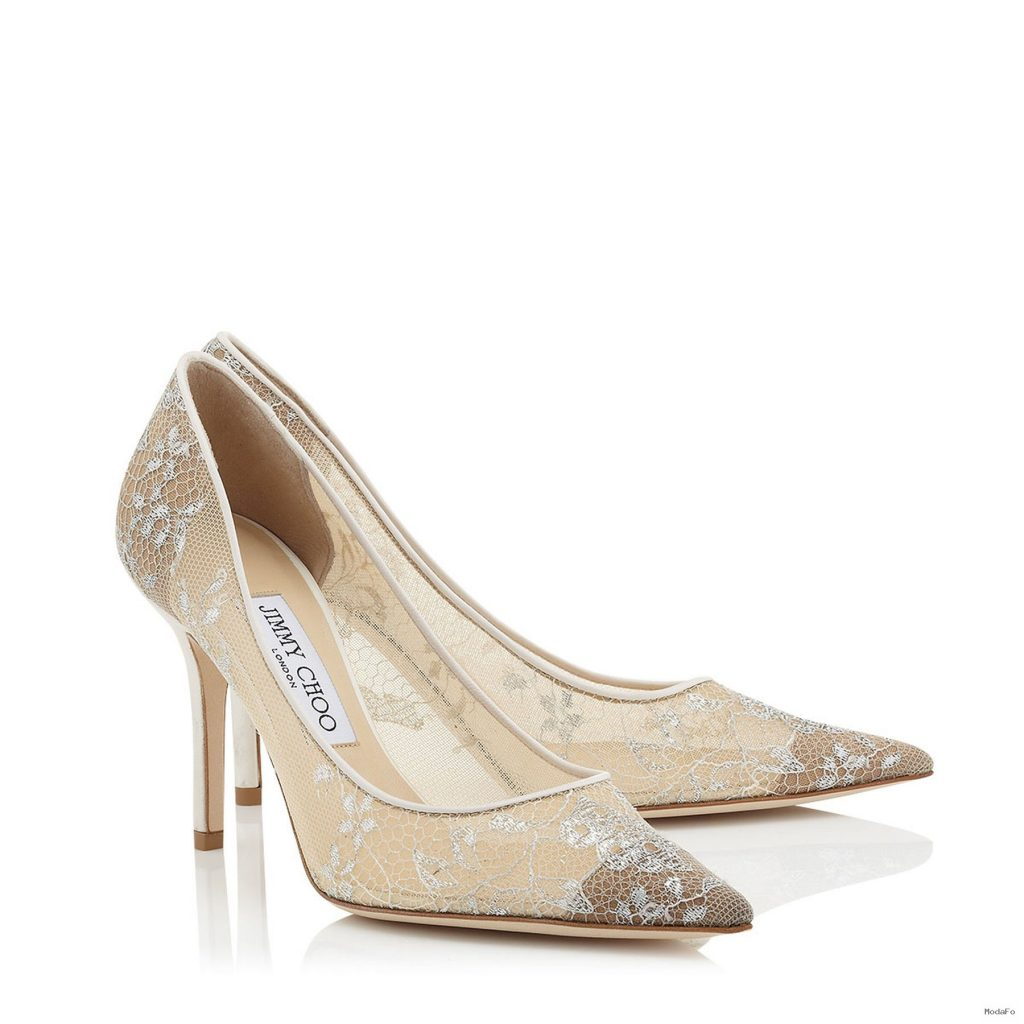 White Lace Pointy Toe Pumps | Agnes | Bridal Collection | JIMMY CHOO