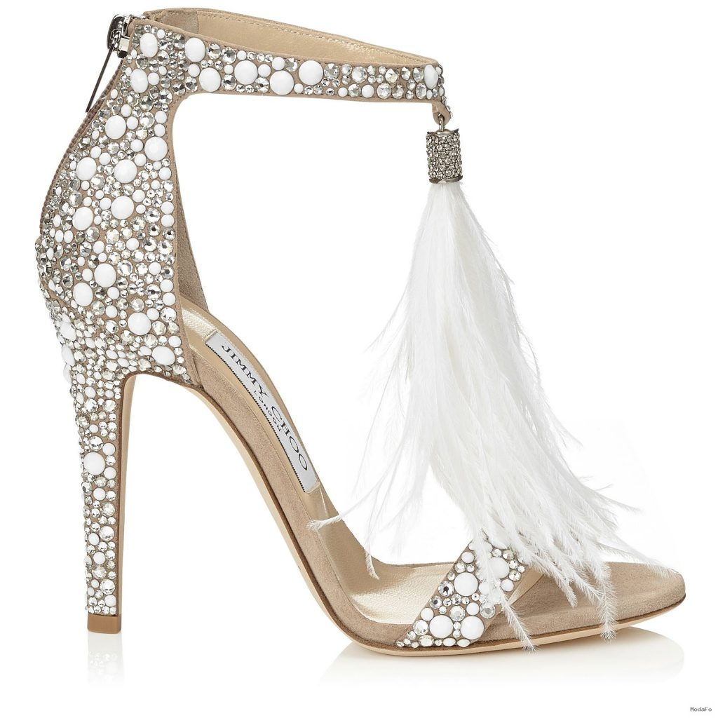 White Suede and Hot Fix Crystal Embellished Sandals with an …