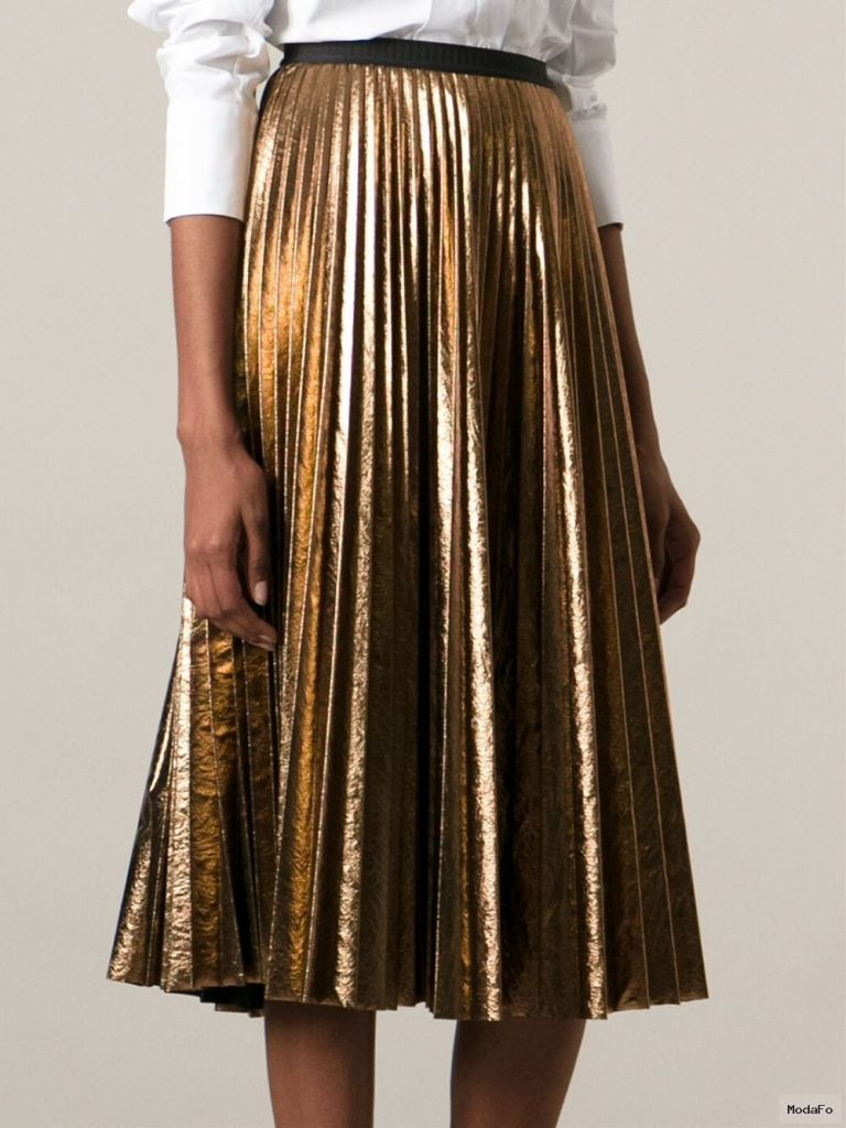Antonio marras Metallic Pleated Skirt in Metallic | Lyst