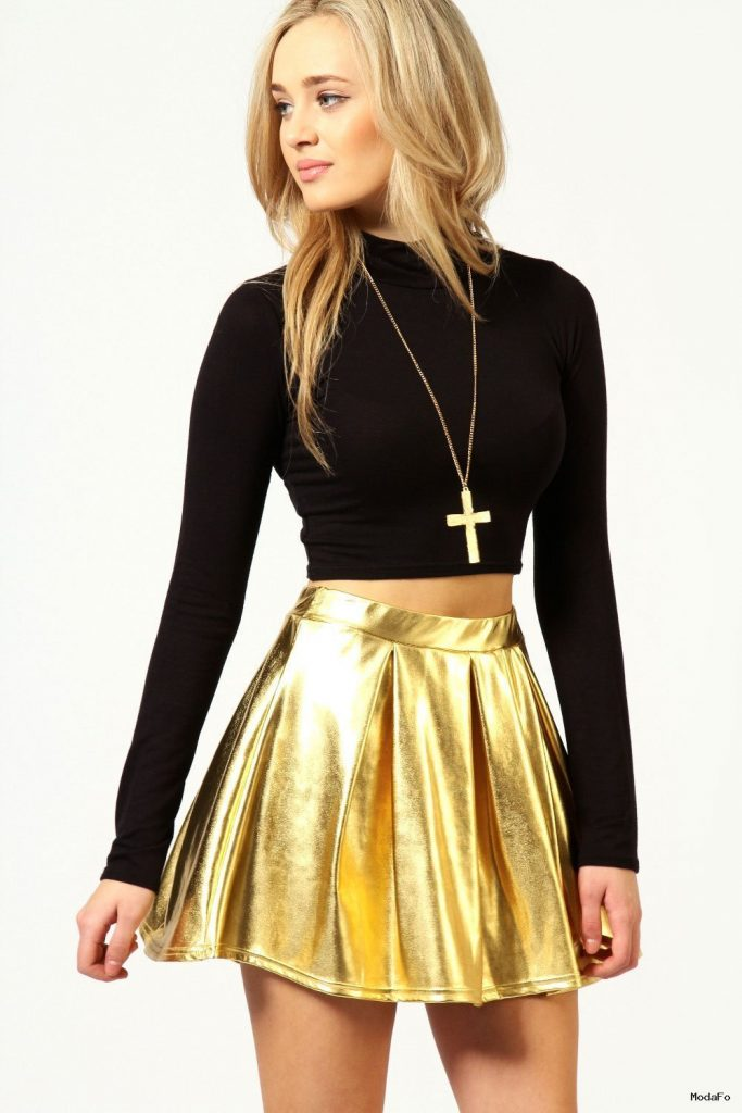 Boohoo Celia Box Pleat Metallic Shiny Skater Skirt | eBay