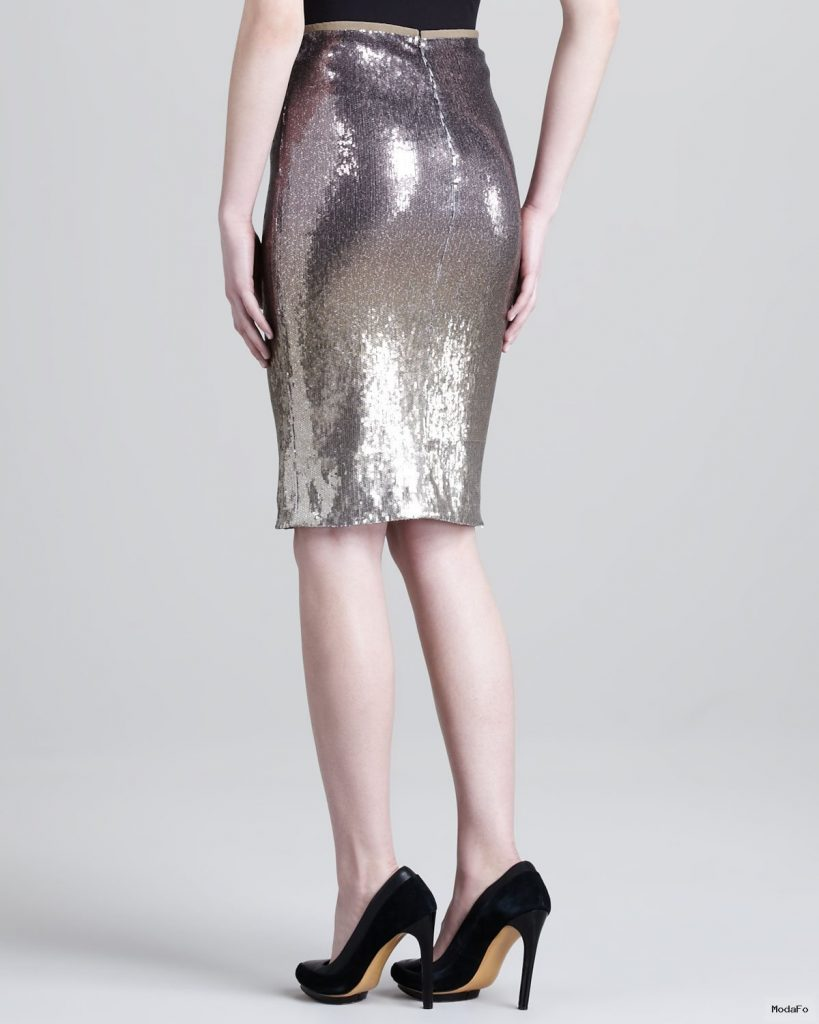 Donna karan Metallic Pencil Skirt in Metallic | Lyst