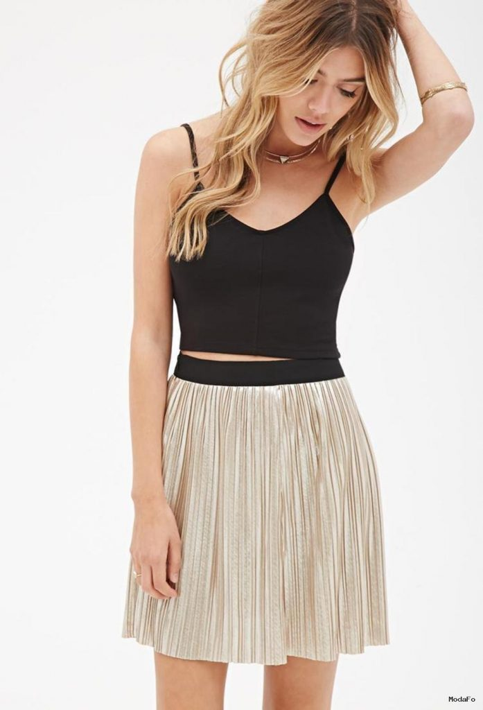 Forever 21 Pleated Metallic Mini Skirt