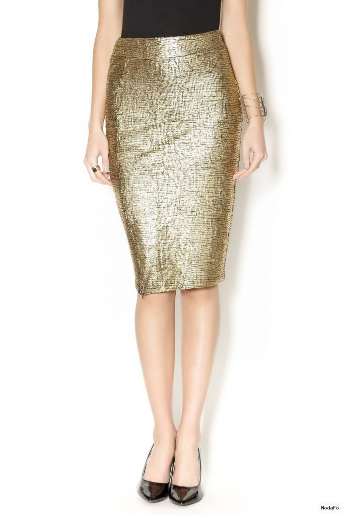 Lucy Paris Metallic Gold Pencil Skirt from Manhattan by Dor L'Dor …