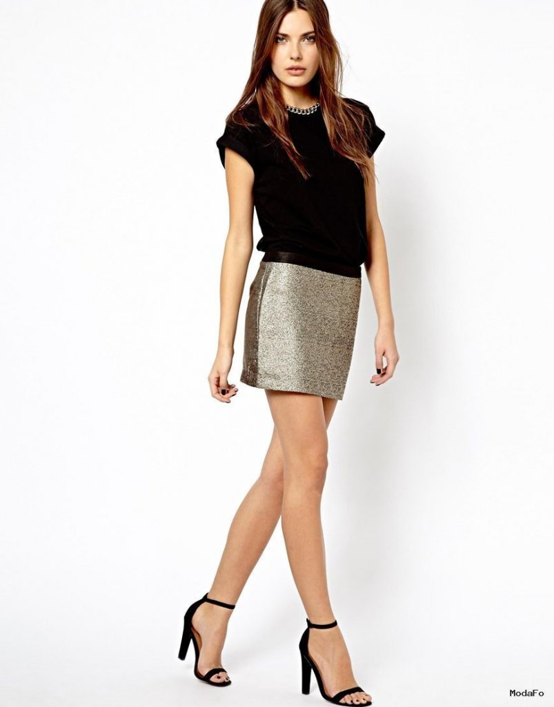 Mango Metallic Mini Skirt in Metallic | Lyst
