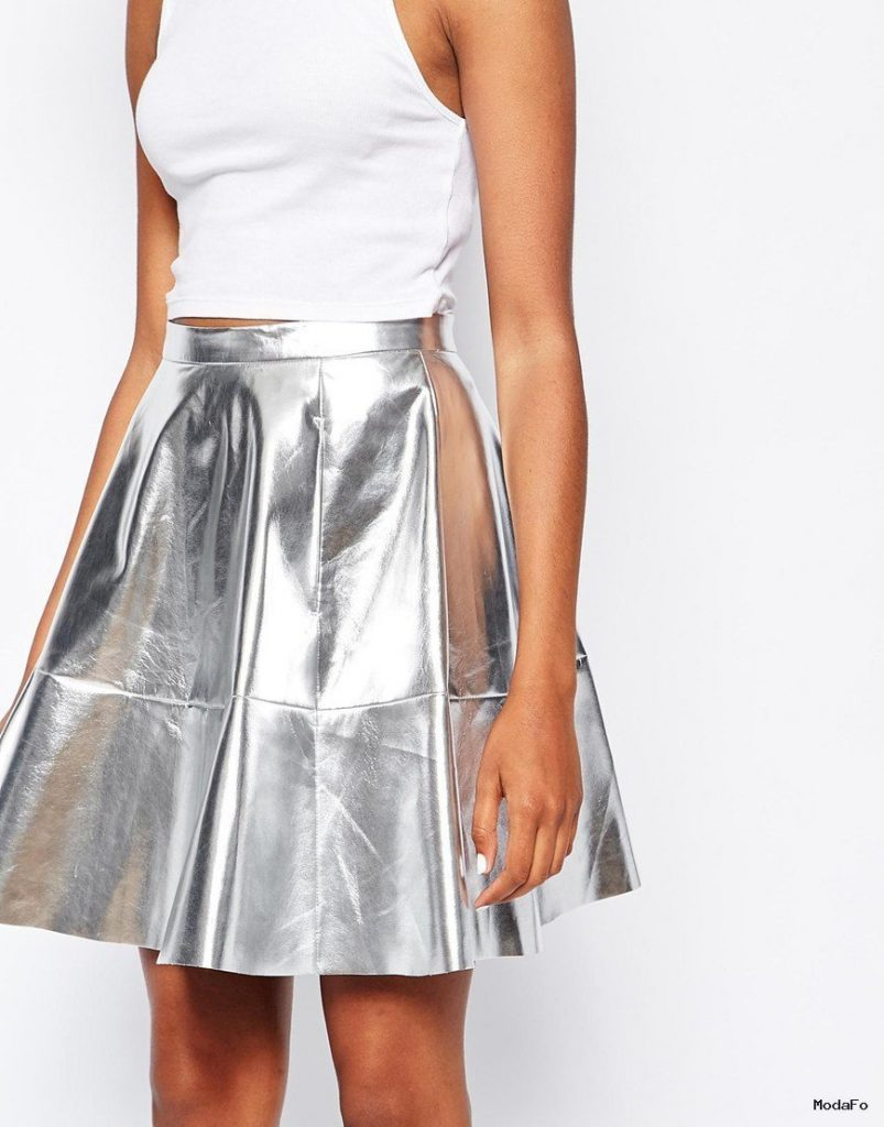 Monki Metallic Skater Skirt in Metallic | Lyst