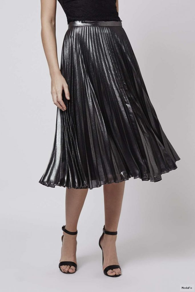 Topshop Tall Metallic Pleat Midi Skirt in Metallic | Lyst
