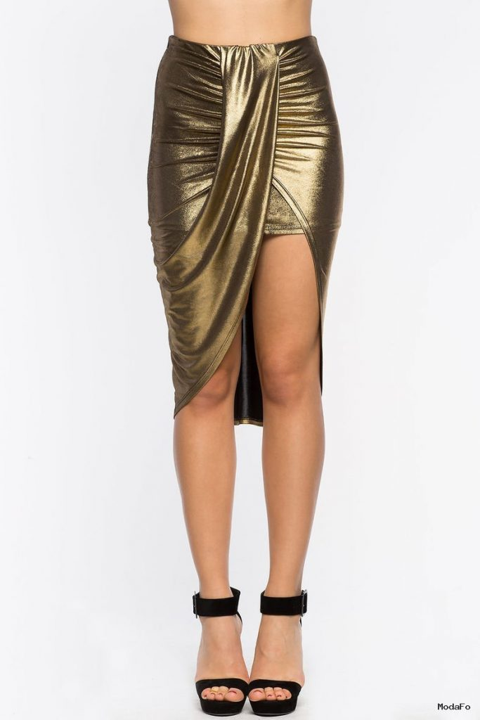 Women's Skirts | Liquid Metallic Wrap Skirt | A'GACI