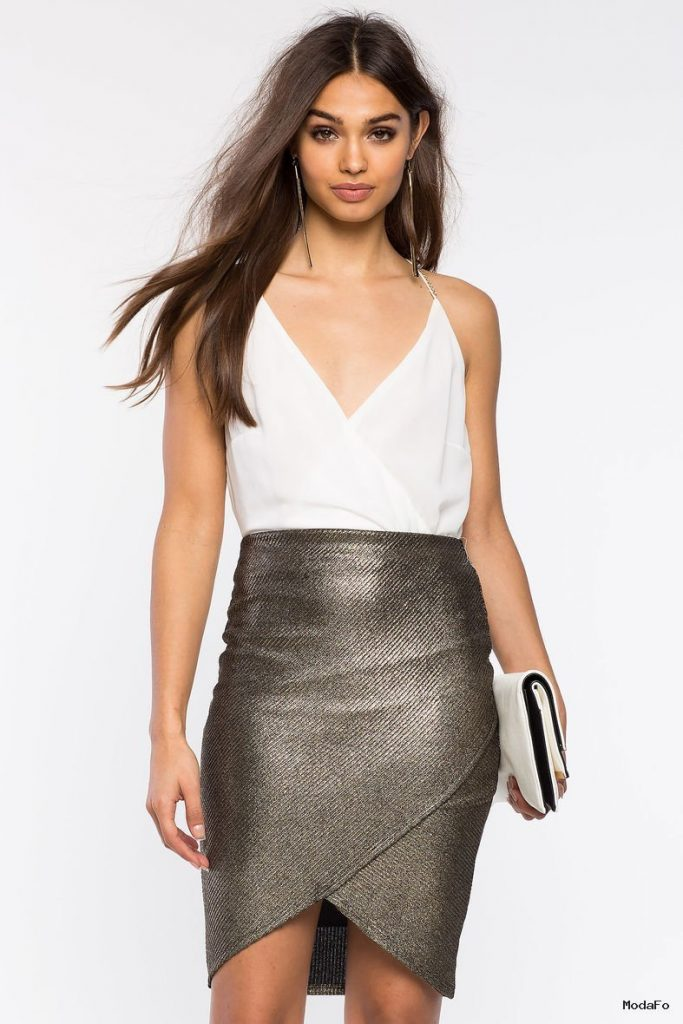 Women's Skirts | Metallic Ribbed Origami Skirt | A'GACI